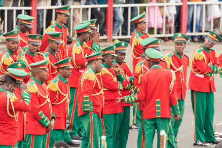 sovereignty: Addis Ababa  May 5: Men Women and Children in colourful uniforms attend the 74th anniversary of Patriots Victory day commemorating the defeat of the invading Italians on May 5 2015 in Addis Ababa Ethiopia. Editorial
