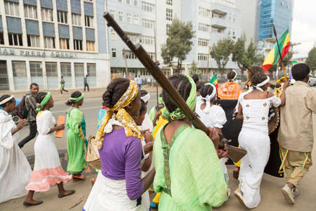 sovereignty: Addis Ababa  May 5: Young men and women dressed in colourful traditional outfit march on the streets of Addis Ababa during the 74th anniversary of Patriots Victory day commemorating the defeat of the invading Italians on May 5 2015 in Addis Ababa Ethiopi