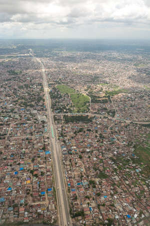es: Aerial view of the city of Dar Es Salaam  showing the densely packed houses and  buildings