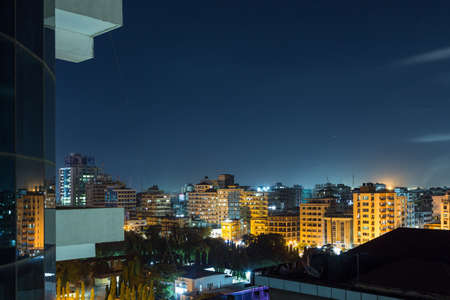 View of the downtown area of the city of Dar Es Salaam, Tanzania, at night
