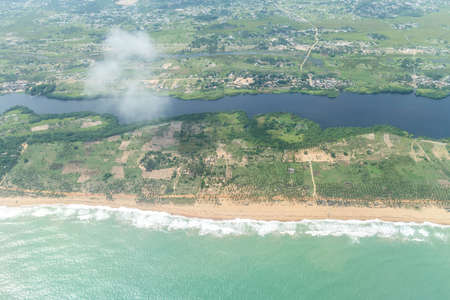 Aerial view of the Atlantic Ocean coastline along the shores of Cotonou, Benin