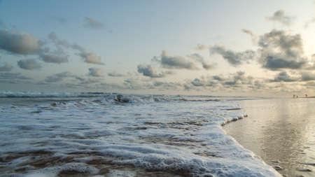 obama: Waves of the Atlantic Ocean landing on the shores of Obama Beach in Cotonou, Benin