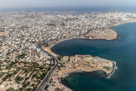 Aerial view of the city of Dakar, Senegal, by the coast of the Atlantic city Stock Photo