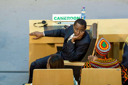 au: Addis Ababa - July 28: High level delegate of Cameroon awaits the arrival of President Obama on July 28, 2015, at the AU Conference Centre in Addis Ababa, Ethiopia.