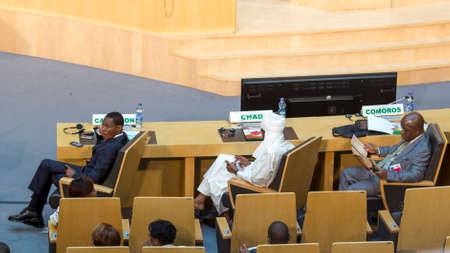 delegate: Addis Ababa - July 28: High level delegate of Cameroon, Chad and Comoros await the arrival of President Obama on July 28, 2015, at the AU Conference Centre in Addis Ababa, Ethiopia.