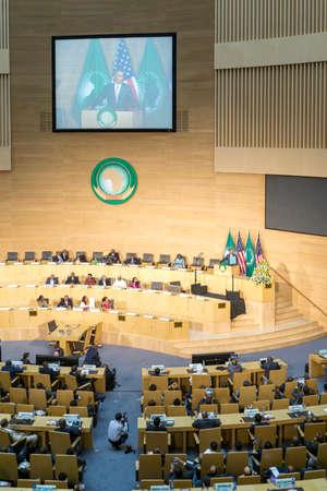 keynote: Addis Abeba - 28 de julio: El presidente Obama pronuncia un discurso de apertura en el continente africano y sus l�deres, el 28 de julio de 2015, en el Sal�n de Nelson Mandela del centro de conferencias de la UA en Addis Abeba, Etiop�a.