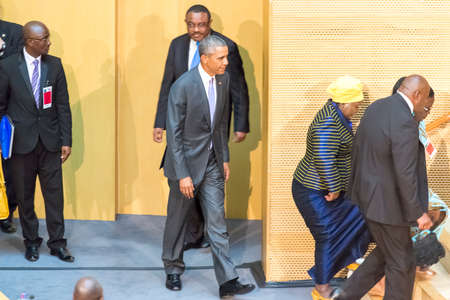 keynote: Addis Ababa - July 28: President Obama enters the Nelson Mandela Hall of the AU Conference Centre, to deliver a keynote speech to the African continent and its leaders, on July 28, 2015, at the in Addis Ababa, Ethiopia.