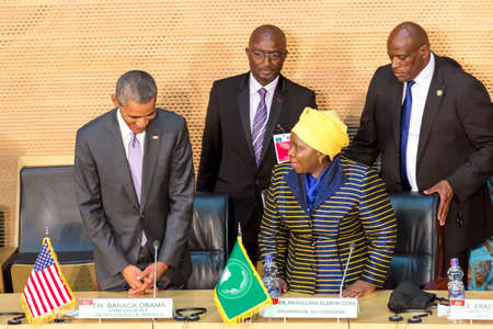 zuma: Addis Ababa - July 28: President Obama and Dr. Dlamini Zuma, take their designated seats at the Nelson Mandela Hall of the AU Conference Centre, on July 28, 2015, in Addis Ababa, Ethiopia. Editorial