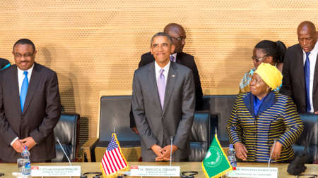 zuma: Addis Ababa - July 28: President Obama, Prime Minister Hailemariam Desalegn, and Dr. Dlamini Zuma, take their designated seats at the Nelson Mandela Hall of the AU Conference Centre, on July 28, 2015, in Addis Ababa, Ethiopia. Editorial