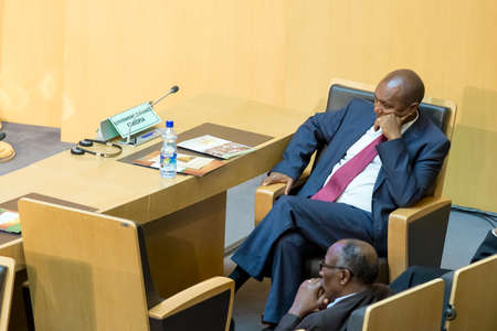 ababa: Addis Ababa - July 28: Ato Bereket Semon awaits the arrival of President Obama on July 28, 2015, at the AU Conference Centre in Addis Ababa, Ethiopia. Editorial