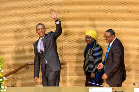 mandela: Addis Ababa - July 28: President Obama waves to the enthusiastic crowd attending his speech, on July 28, 2015, at the Nelson Mandela Hall of the AU Conference Centre in Addis Ababa, Ethiopia. Editorial