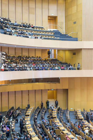 zuma: Addis Ababa - July 28: Nelson Mandela Hall of the AU Conference Centre was filled with a large crowd awaiting the arrival of President Obama on July 28, 2015, in Addis Ababa, Ethiopia.