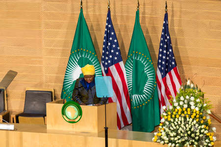 keynote: Addis Ababa - July 28: H.E. Dr. Dlamini Zuma, Chairperson of the AUC, delivers a keynote speech at the Nelson Mandela Hall of the AU Conference Centre, on July 28, 2015, in Addis Ababa, Ethiopia. Editorial