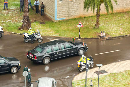 addis: Addis Ababa - July 28: President Obama leaves the African Union Commission in his presidential car, on July 28, 2015, at the Nelson Mandela Hall of the AU Conference Centre in Addis Ababa, Ethiopia. Editorial