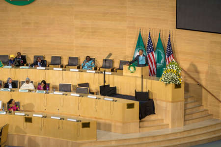 keynote: Addis Ababa - July 28: President Obama delivers a keynote speech to the African continent and its leaders, on July 28, 2015, at the Nelson Mandela Hall of the AU Conference Centre in Addis Ababa, Ethiopia.