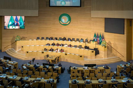 Addis Ababa - July 28: President Obama delivers a keynote speech to the African continent and its leaders, on July 28, 2015, at the Nelson Mandela Hall of the AU Conference Centre in Addis Ababa, Ethiopia.