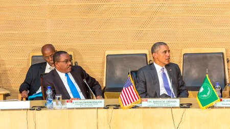zuma: Addis Ababa - July 28: President Obama and Prime Minister Hailemariam Desalegn attentively listen to the speech of H.E. Dr. Dlamini Zuma, Chairperson of the AUC, on July 28, 2015, in Addis Ababa, Ethiopia.