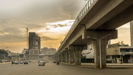 emerging economy: August 8, Addis Ababa: Giant concrete structures built for the light rail system change the face of the city of Addis Ababa - August 8, 2015 Addis Ababa, Ethiopia.