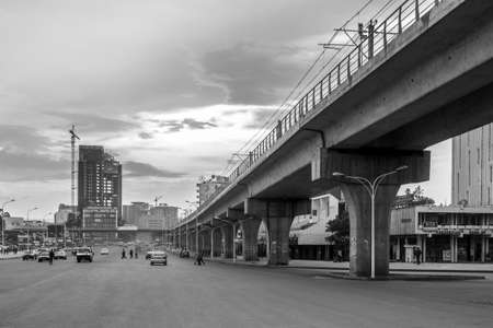 ababa: August 8, Addis Ababa: Giant concrete structures built for the light rail system change the face of the city of Addis Ababa - August 8, 2015 Addis Ababa, Ethiopia.