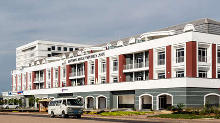 Gaborone - Nov 12: One of the many modern buildings of Gaborone, one of the fastest growing cities in the world built over a span of a few years. Nov 12, 2014 in Gaborone, Botswana Reklamní fotografie - 57066411