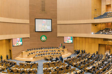 he: Addis Ababa - May 27: H.E. MME. Park Geun-Hye, President of the Republic of Korea visits the African Union Commission accompanied by Prime Minister of Ethiopia, on May 27, 2016, in Addis Ababa, Ethiopia. Editorial