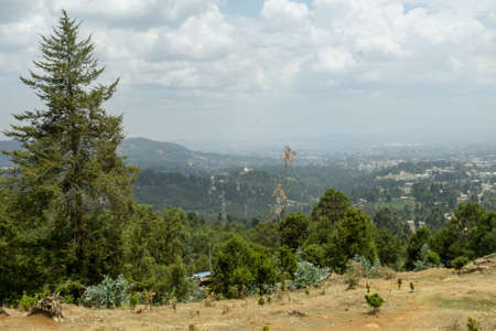 addis: Aerial view of the landscape surrounding Addis Ababa from Mount Entoto Stock Photo