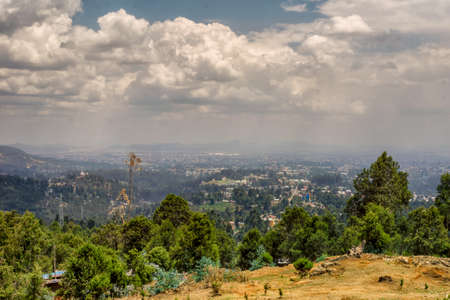 ababa: Aerial view of the landscape surrounding Addis Ababa from Mount Entoto Stock Photo