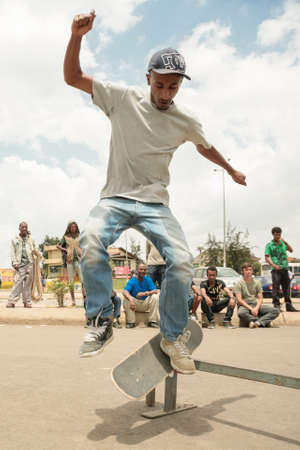 grassroots: Addis Ababa, April 21: Ethiopia Skate, a local grassroots community of skateboarders organise a skateboarding event at a local skate spot on April 21, 2013 in Addis Ababa, Ethiopia