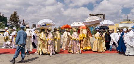 ababa: Addis Ababa - Jan 20: Ethiopian Orthodox followers celebrate Timket,  the Ethiopian Orthodox celebration of Epiphany, on January 20, 2016 in Addis Ababa, Ethiopia. Editorial
