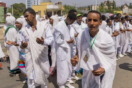 ethiopian: Addis Ababa - Jan 20: Ethiopian Orthodox followers celebrate Timket,  the Ethiopian Orthodox celebration of Epiphany, on January 20, 2016 in Addis Ababa, Ethiopia. Editorial