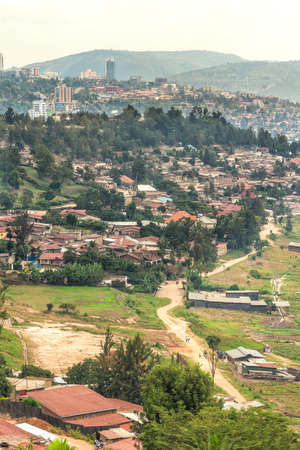 capita: Aerial view of the Kigali, the capita city of Rwanda, from the hills on the outskirt of the city Editorial