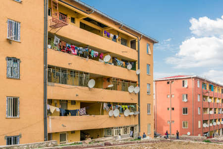 addis: Addis Ababa - June 11: A few of the several thousand newly constructed Condominiums are being occupied by residents of the city. Addis Ababa, Ethiopia June 11, 2016.