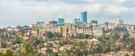 Birds eye view of the buildings of downtown Kigali