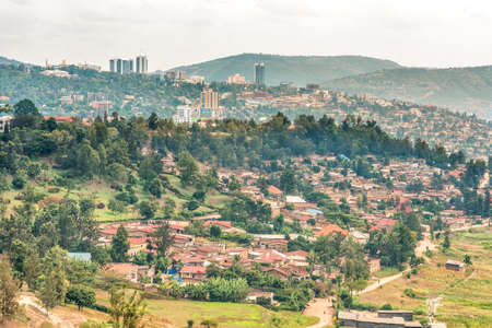 Aerial view of the Kigali, the capita city of Rwanda, from the hills on the outskirt of the city Banco de Imagens