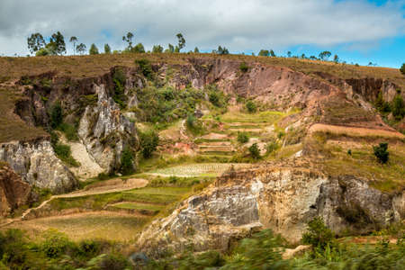Beautiful Malagasy landscape with eroded hills forming interesting geological features Imagens