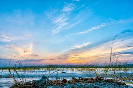 Sun setting over the the beautiful Hawassa Lake Imagens