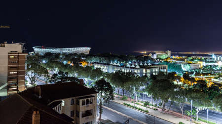 Night View of Cape Town overlooking the brightly lit Cape Town Stadium, which hosted the the 2010 FIFA World Cup Redakční