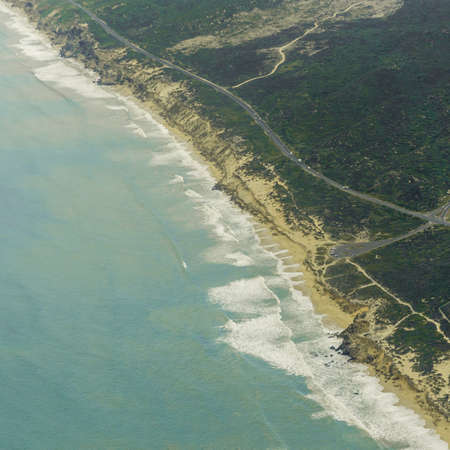Aerial view of the shores of the Atlantic Ocean near Cape Town, South Africa