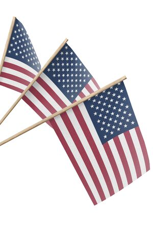 United States, multiple small flags hanging, isolated on white background Foto de archivo