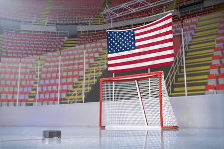 United States flag in hockey stadium