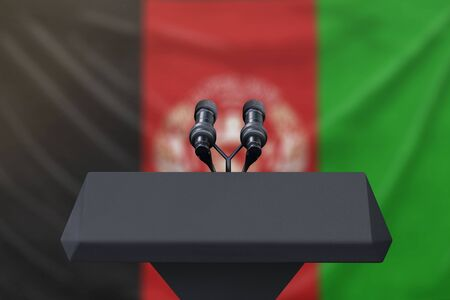 Afghanistan flag with microphones and a podium