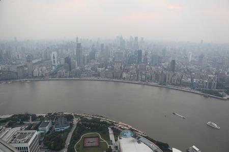 birds eye: Birds eye view of the Huangpu River