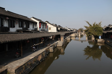 historical reflections: Ancient town of Xitang Stock Photo