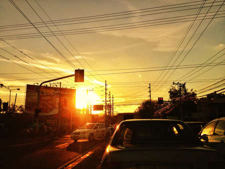 Sunset traffic in the Philippines