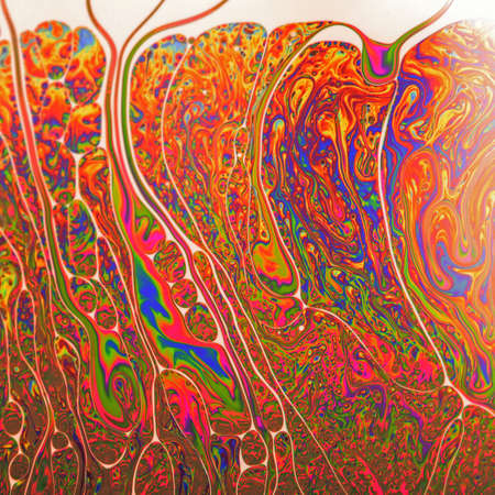 Psychedelic abstract formed by light interference on the surface of a soap bubble Stock Photo