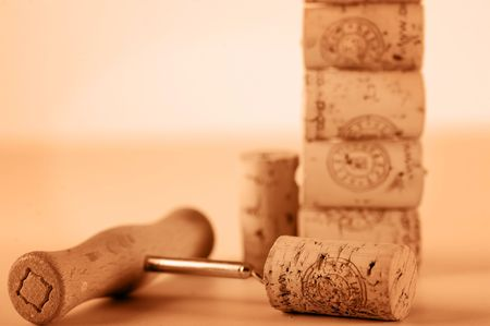 monotone: corcskrew & corks Stock Photo