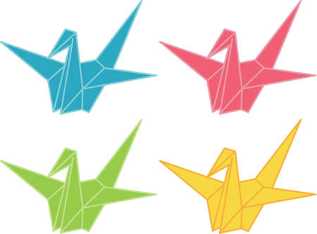 Origami Cranes illustration Vector