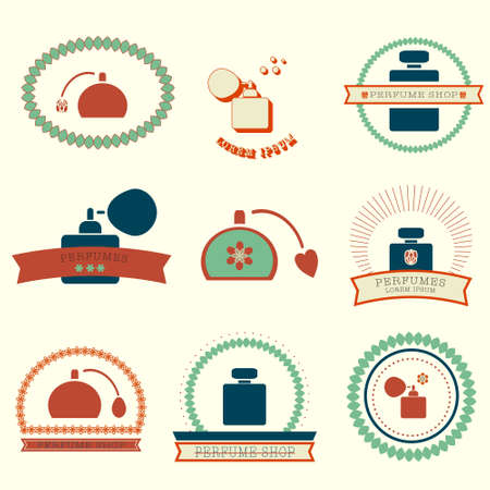 atomizer: colorful logo set for perfume shop, vector