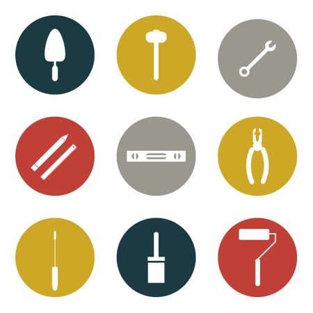 flat icons set of tools for house remodel