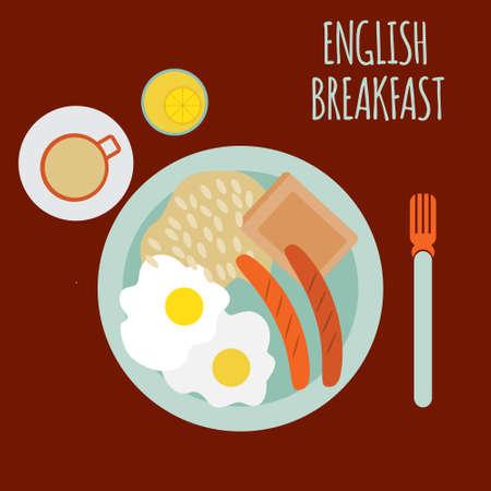 english breakfast: english breakfast illustration Illustration